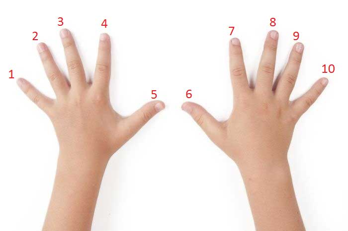 Умножение на пальцах на 9