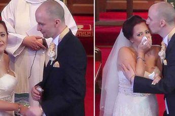 Жених прерывает венчание и говорит невесте отвернуться. И она начинает рыдать на глазах у гостей…